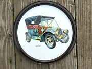 Vintage Metal Serving Tray 1909 Welch Antique Car 10.75 Round Collector Auto