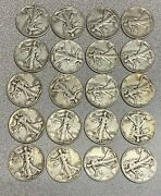 Roll Of 90 Silver Liberty Walking Halves - 10 Face Value - Full Dates