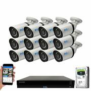 16 Channel Nvr 12 5mp H.265+ Poe Ip Microphone Ai Bullet Security Camera System