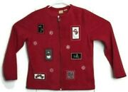 Cc Hughes Womens Red Patched Ugly Christmas Cardigan Fleece Sweater Size M