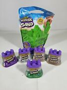 Kinetic Sand Castle Lot Of 5 And 2 Lbs Bag - Brown Purple White And Green New