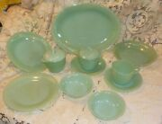 13 Pieces Fire King Jade-ite Jane Ray Sugar And Creamer Berry Soup Bowl Plates