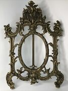 Antique Rococo Gilt Brass Easel Back Picture Frame No Glass