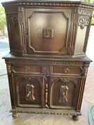 Antique China Cabinet Curio Display Case Beautiful Wood.