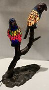 Style Stained Glass 2 Parrots Table Lamp Desk Light Night Stands Vintage