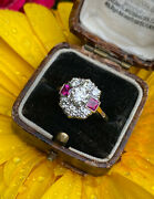 Vintage French Cut Ruby And Diamond 18ct Gold Cluster Ring 1.44ct + 0.45ct