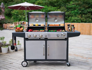 Dual Gas Charcoal Bbq Grill Combo Large Outdoor Barbecue Cooking Station