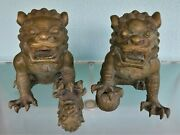 Pair Large Bronze Foo Dog Statues Chinese Tigers Guardians Decorator Quality