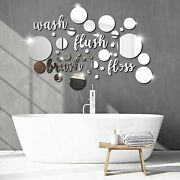 30 Pieces Bathroom Wall Decals Wash Flush Brush Floss Stickers 3d Round Mirrors