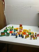 54 Vintage Lot Of Pieces Fisher Price Little People Cars Dogs Figures