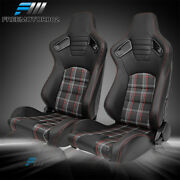 Adjust Universal Racing Seat Black Puandcarbon Leather Red Plaid And2 Dual Slider