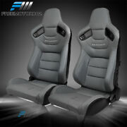 Adjust Universal Racing Seat Pair Grey Pu Andcarbon Leather Back And 2 Dual Sliders