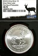 2018 S. Africa 1oz Silver Krugerrand Ngc Ms-70 Black Retro First Day