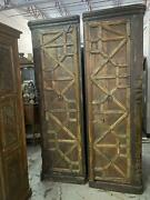 2 Rustic Armoire Corner Cabinet Pair Old Doors Carved Reclaimed Wall Cabinet