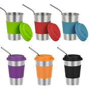 6 Pcs 16 Oz Metal Drinking Glasses Kids Stainless Steel Cups With Straws Lids