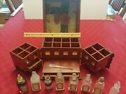 Rare French Antique Apothecary Kit Glass Jars Pharmacy Box Wooden Travel