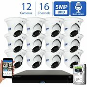 16 Channel Nvr 12 5mp H.265+ Poe Ip Microphone Ai Turret Security Camera System