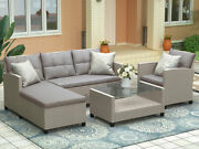 4 Piece Outdoor Patio Furniture Set Wicker Ratten Sectional Sofa With Cushions