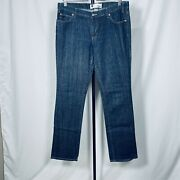 Gap Straight Fit Jeans Size 12 Long Stretch Mid Rise Dark Wash Blue