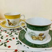 Hermes Paris Porcelain Cup And Saucer Set Of 2 Chasse Labrador Yellow Green Ware