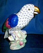 Herend Porcelain Fishnet Parrot-limited Edition Lilac Color-rare And Collectible