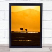 Following Mommy Horses Animals Dust Silhouette Sunset Mountain Wall Art Print