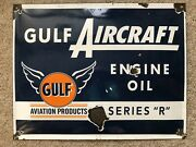 Gulf Aircraft Engine Oil Vintage Porcelain 16andrdquo X 13andrdquo Colorful Advertising Sign