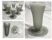 Vintage Tupperware Parfait Dessert Cups With Lids And Bases Gray Smoke 6-pc Set