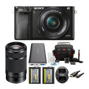 Sony Alpha A6000 Black Ilce With 16-50mm And 55-210mm 2 Lens Bundle