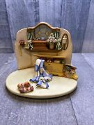 Vtg Goebel Hummel Quilting Bee Collectors Scape Display And Small Hope Chest 1999