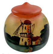 Vintage Glass Hand Painted Lamp Shade Light Cover Windmill Sunset 4 Inches Tall
