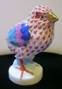 Herend Porcelain Fishnet Baby Chick Or Little Chicken 4 Tall-hand-painted Rust