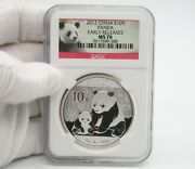 2012 China Panda 1 Oz Silver Coin Ngc Ms70 Early Release Red Panda Label. 288