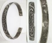 Antique Chinese Silver Hand Chased Split Bracelet 27.4g Signed