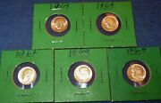 Lot Of Five 5 1964 Roosevelt Dime 10 Cent 0.900 Silver Uncirculated Coin