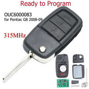 For Pontiac G8 2008 2009 Remote Key Fob 315mhz 3+1 Button Ouc6000083 92237316