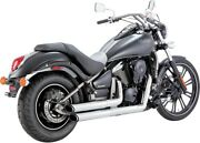 Vn900 Vulcan Vance And Hines Twin Slash Staggered Exhaust System Chrome 18397
