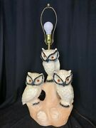 Vintage Mid Century Large Owl Lamp 3 Owls Sitting On A Branch