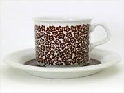 Arabia Faenza Coffee Cup And Saucer 1973 - 1979 Vintage Excellent Brown Flowers