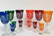 Six Bohemian Large Crystal Glasses And Six Small Glasses With Lustre, Multico
