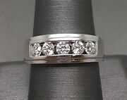 Mens 14k White Gold 1ct Diamond Band Solitaire Ring Wedding Engagement Real 10