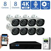 8 4k 8mp Motorized Zoom Ip Microphone Poe Nvr Ai Bullet Security Camera System