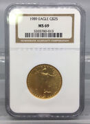 1989 Gold Eagle 25 Coin Ngc Ms 69