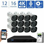 12 4k 8mp Motorized Zoom Microphone Poe Nvr Ai Bullet Security Camera System