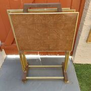 Vintage Set 3 Faux Wood Metal Tv Snack Tray Tables With Stand