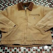 Distressed Vtg 90and039s Blanket Lined Trucker Jacket Coat 46 Xl 2xl Usa