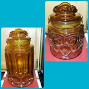 2x Vtg Le Smith Amber Glass Moon And Stars Jar Canister Set Of 2 W/ Lids 11 And 7