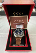 Cccp Menand039s Cp-7041-02 44mm Black Dial Navy Blue Face Stainless Steel Watch