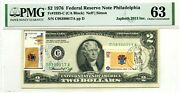 2 Dollars 1976 Stamp Cancel State Flag From New Jersey Lucky Money Value 3000