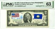 2 Dollars 1976 Stamp Cancel State Flag From Kentucky Lucky Money Value 3000